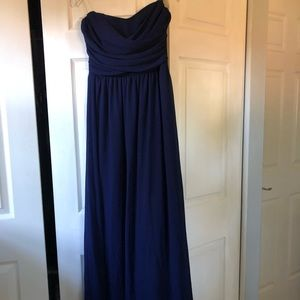 Lulu's Strapless Navy Blue Dress